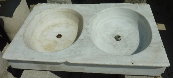 Old sink - an outdoor marble sink with double basin.
