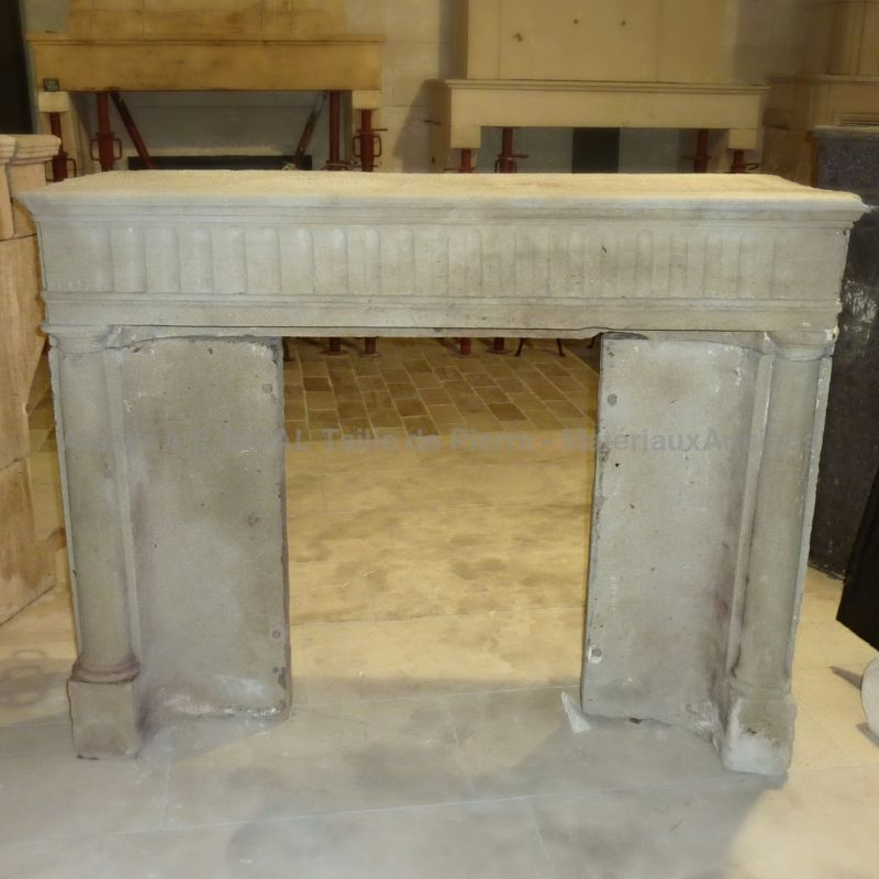 Antique stone fireplace | Empire style stone mantle for sale at the stonemason Alain BIDAL