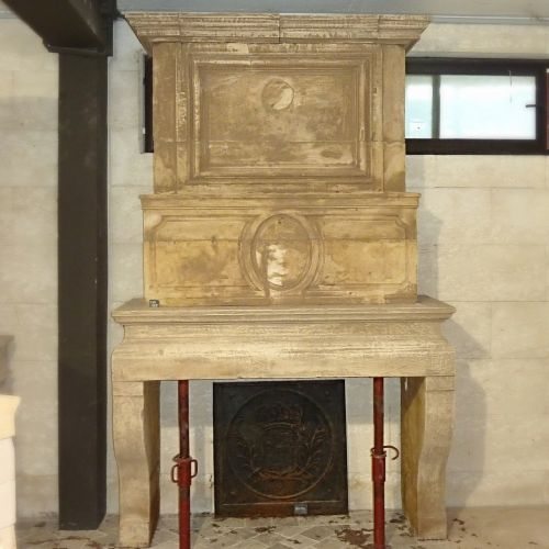 Antique Louis 13 stone fireplace - fireplace with double trumeau.