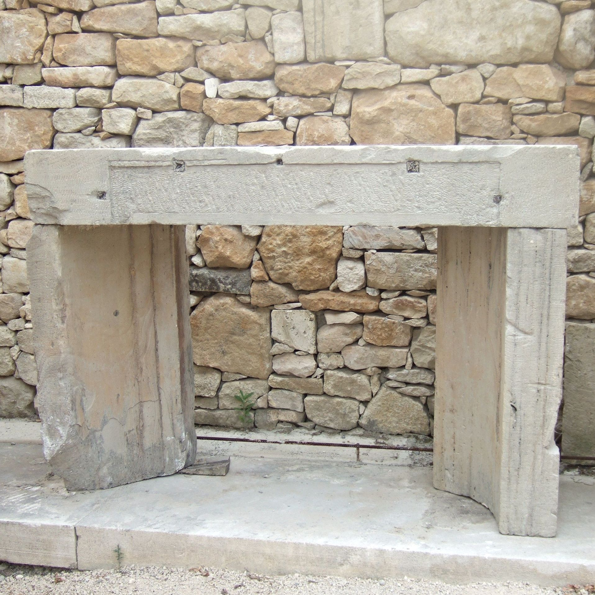 Old fireplace - 19th century fireplace, stone fireplace for garden.
