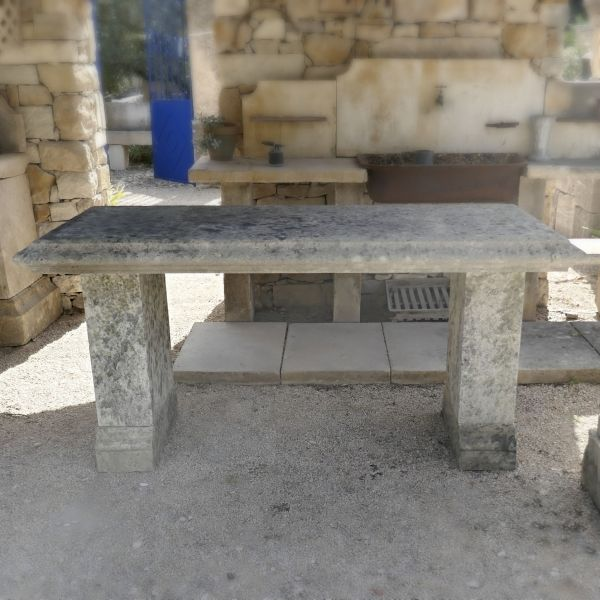 Antique garden furniture | Rectangular table for 8 people carved in stone