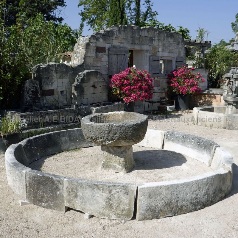 Antique stone basin for the landscaping and the decoration of the garden.
