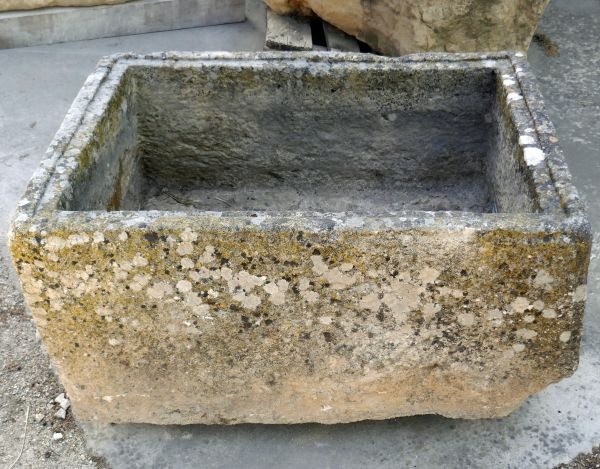Large rectangular trough in stone aged by time - antique stone trough that can be used as a planter.