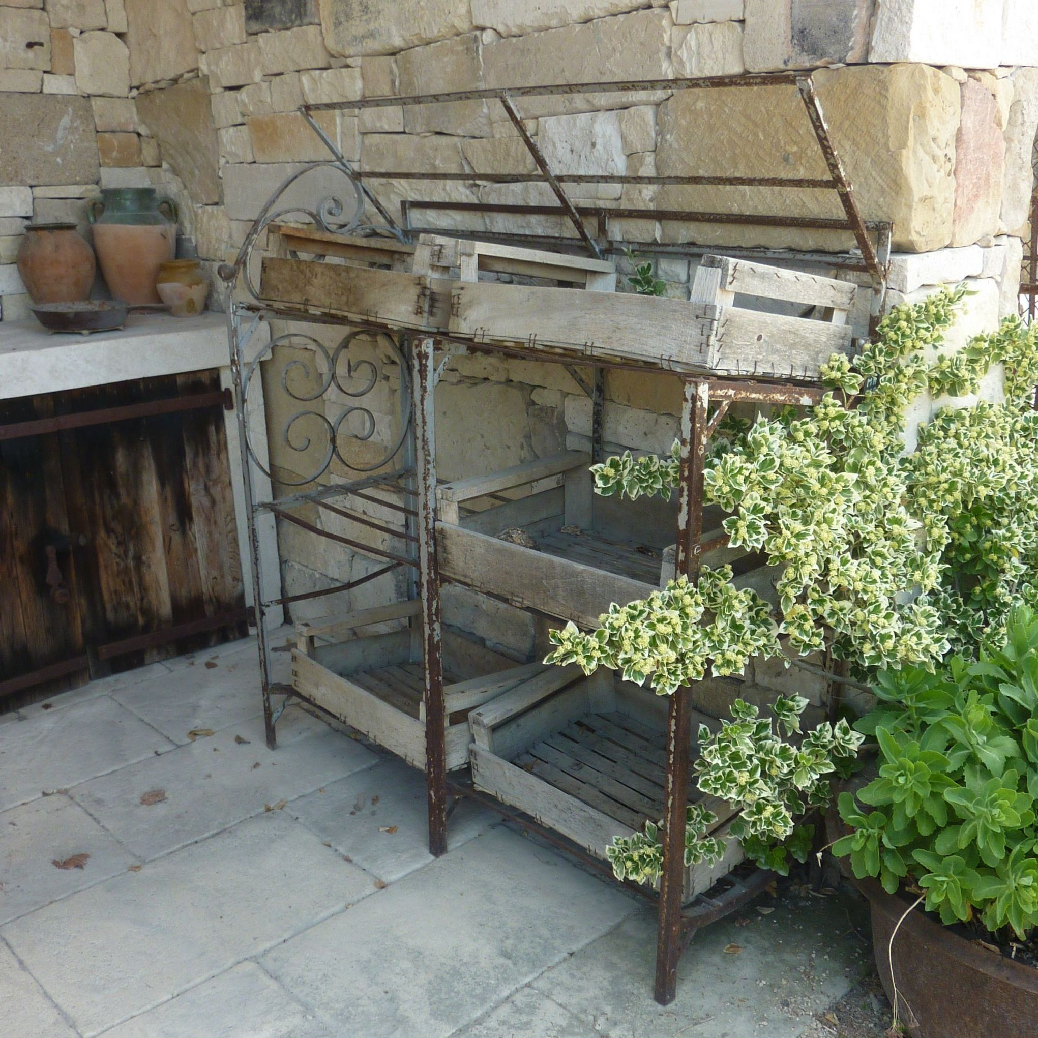 Wrought iron shelf - superb old wrought iron grid.