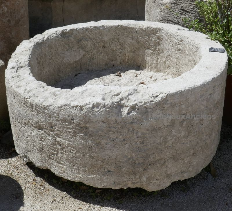 Large massive stone trough - Deep circular stone trough ideal as a rusticly charming planter.