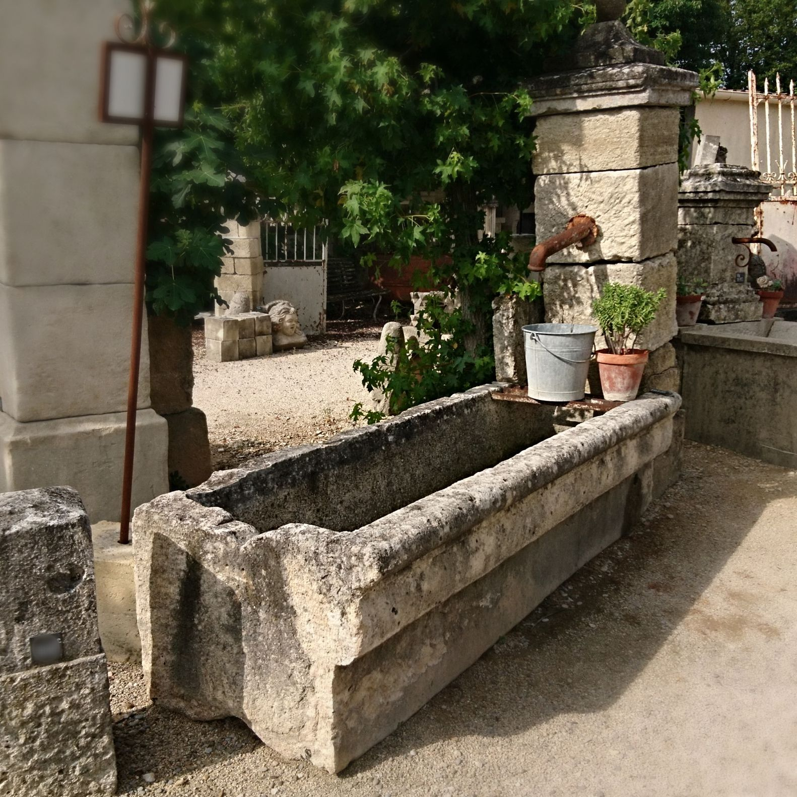 Large fountain for outdoors use | Outdoor fountain with massive old trough.