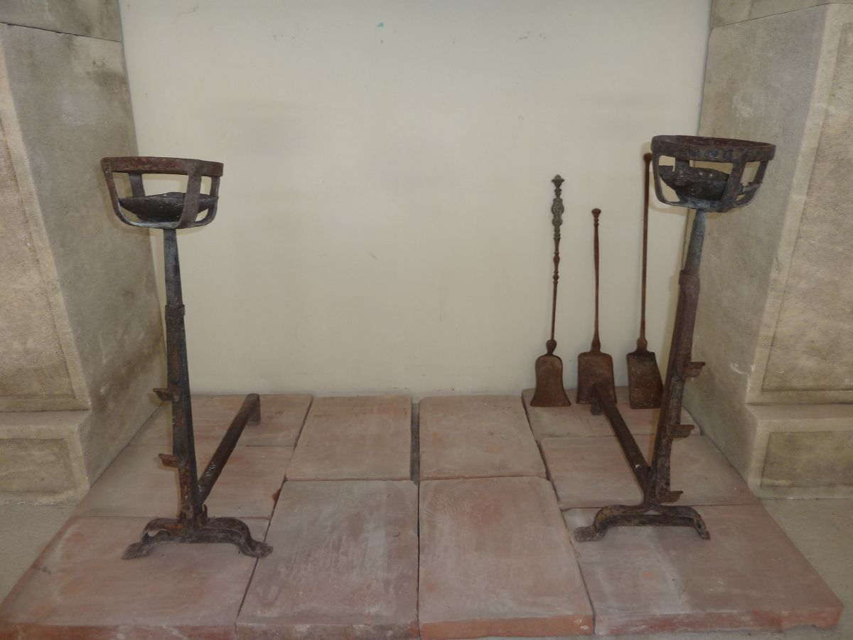 Antique firedogs and andirons