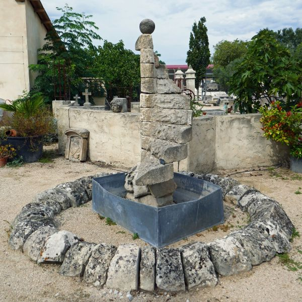Garden fountain in stone by Alain Bidal Antique Materials in Provence