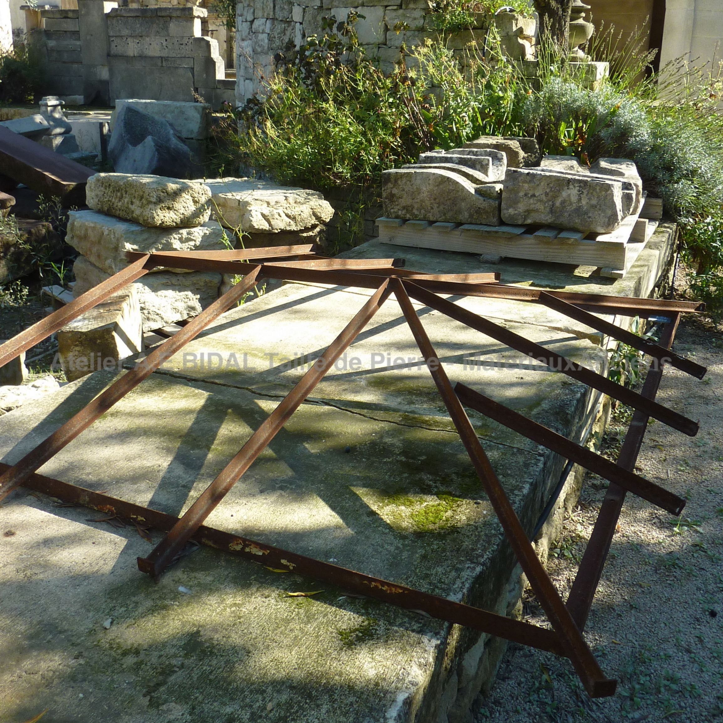 Antique flat wrought iron canopy