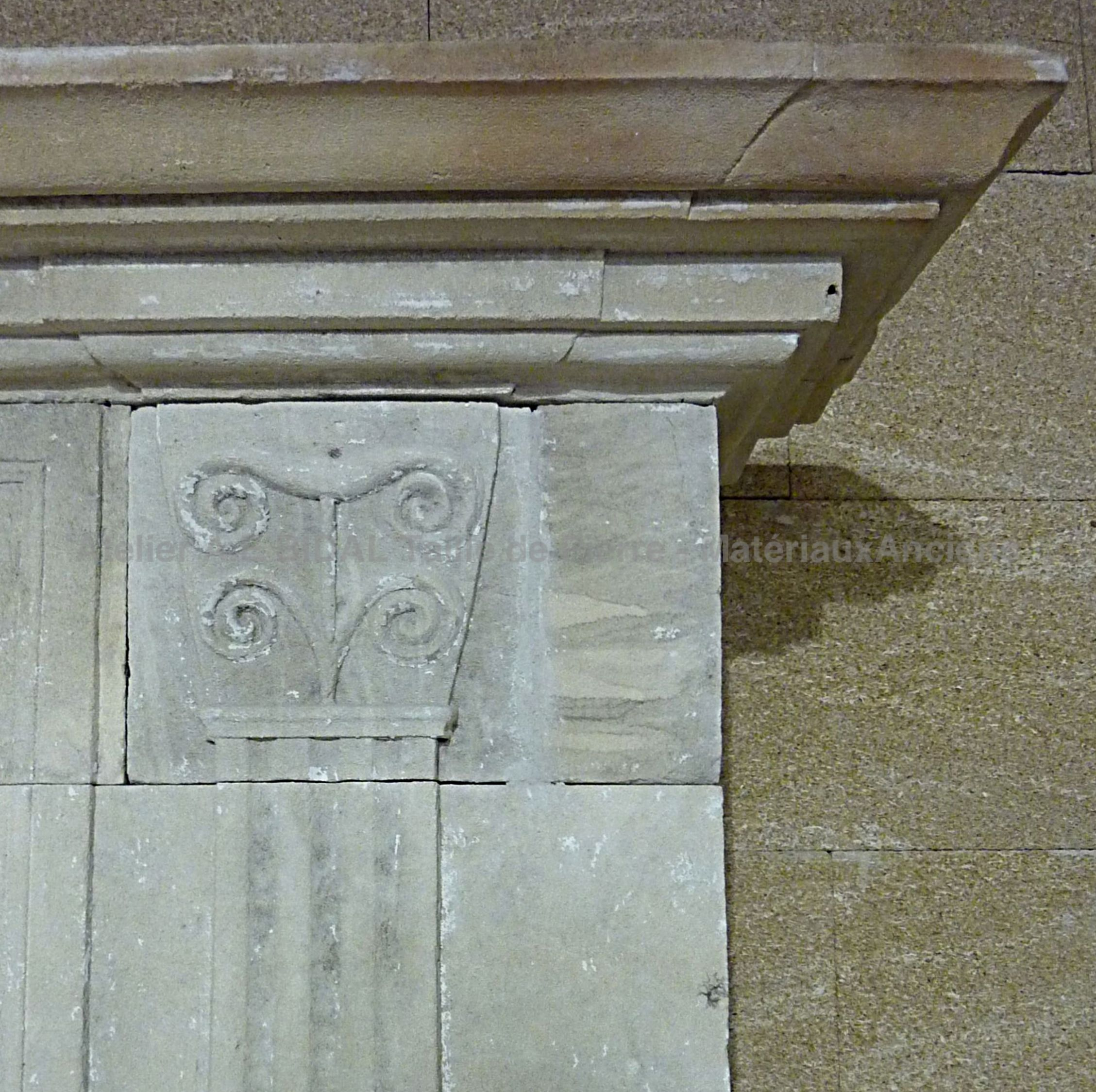 Detail of the sculptures on our Louis 16 fireplace in stone * On sale only at Alain Bidal, Provence.