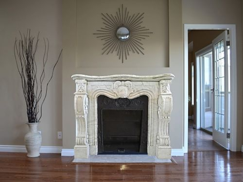 Example of a beautiful antique marble fireplace from Bidal : exceptional Napoleon III fireplace in white marble.