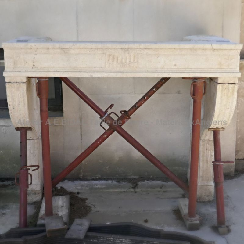 Antique stone fireplace - A genuine stone mantle made by a French stonemason.