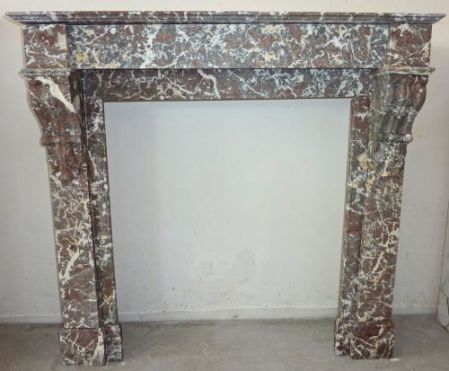 Antique pink marble mantle for sale at Alain BIDAL Antique Materials in Provence.