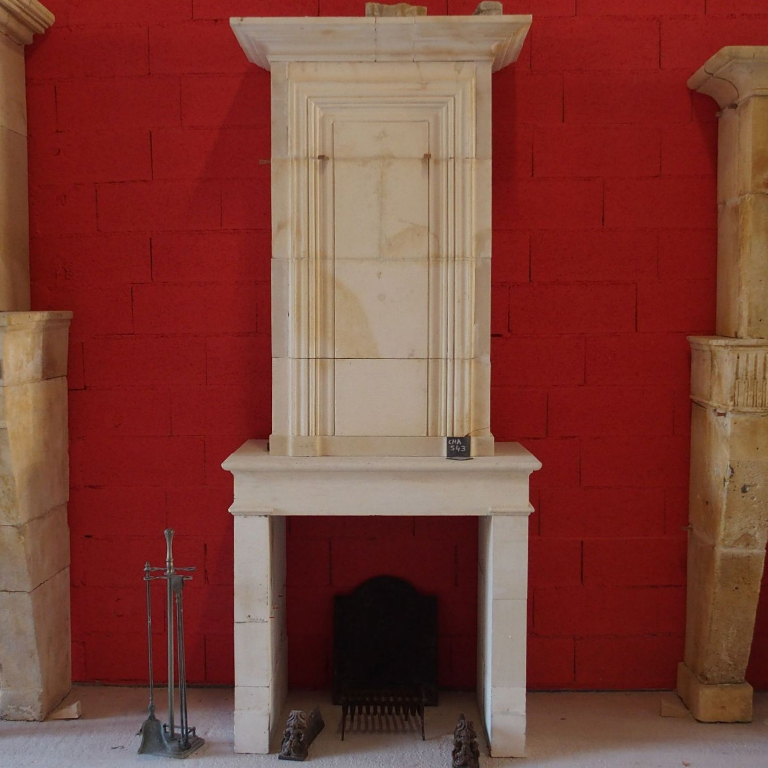 Beautiful old tall and white fireplace- fireplace with overmantle.