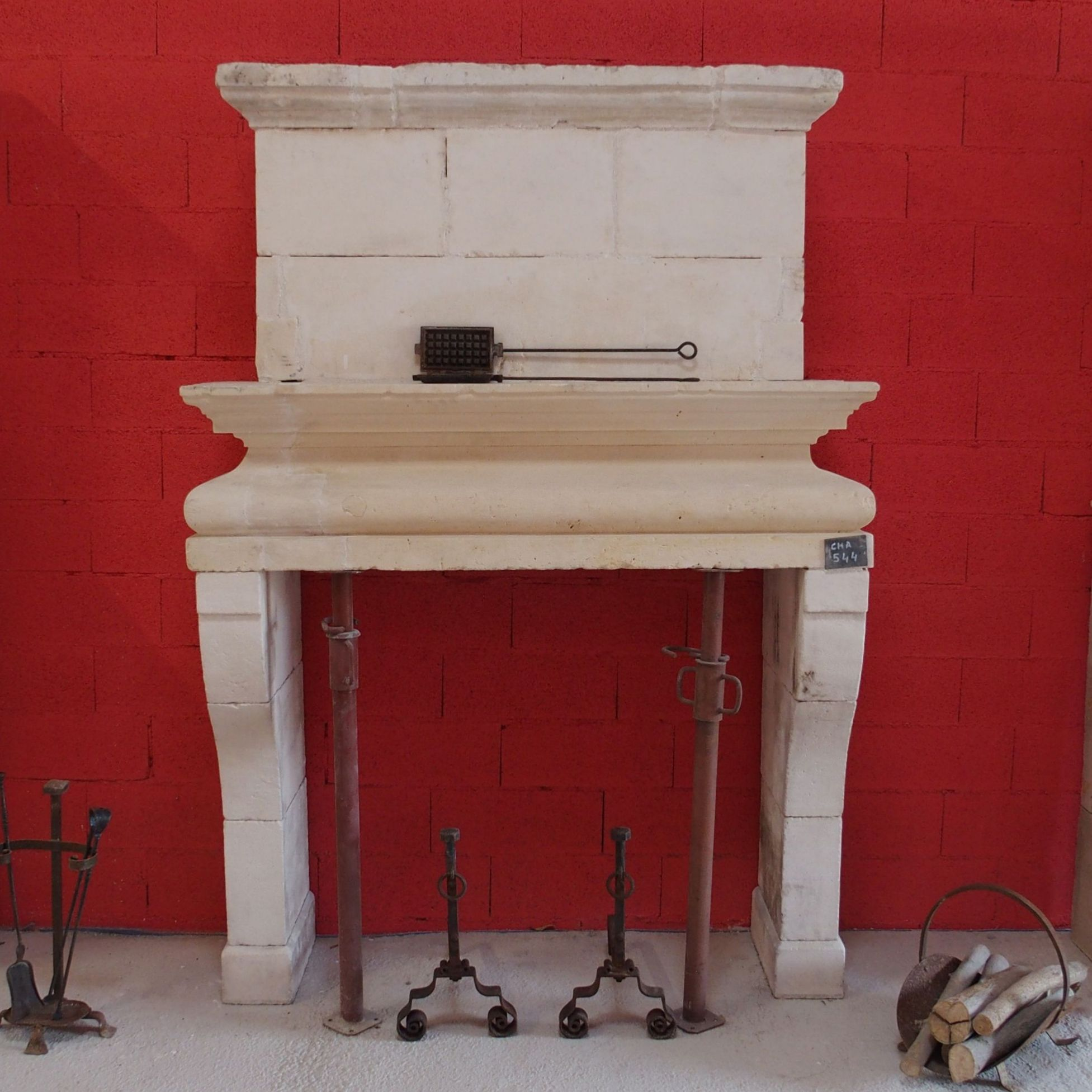 stone fireplace - fireplace wityh overmantle Louis XIII.