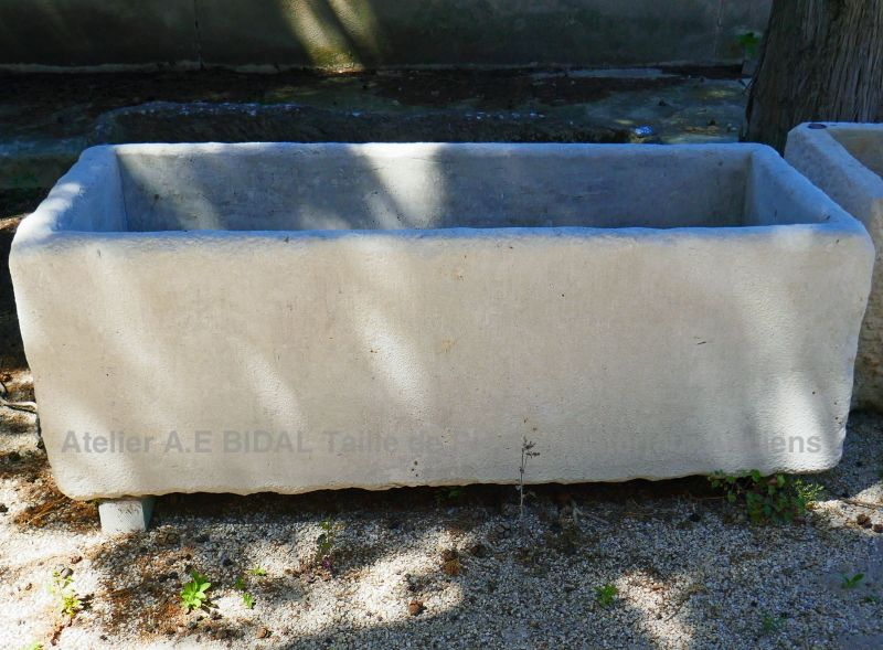 Antique and very rustic stone trough with drain hole - Provence style stone trough.