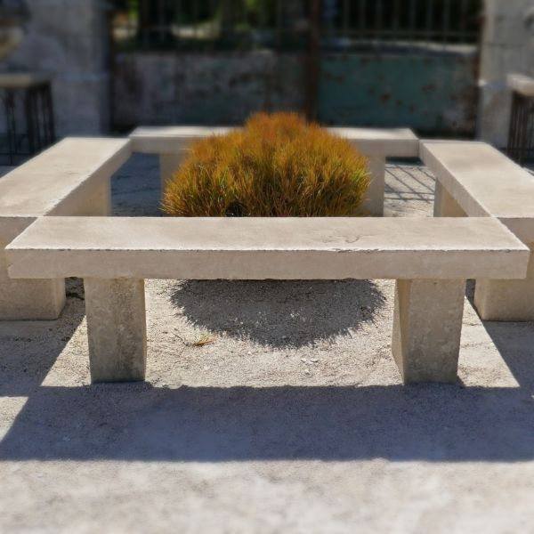 Antique stone garden bench | Natural stone bench for outdoors.