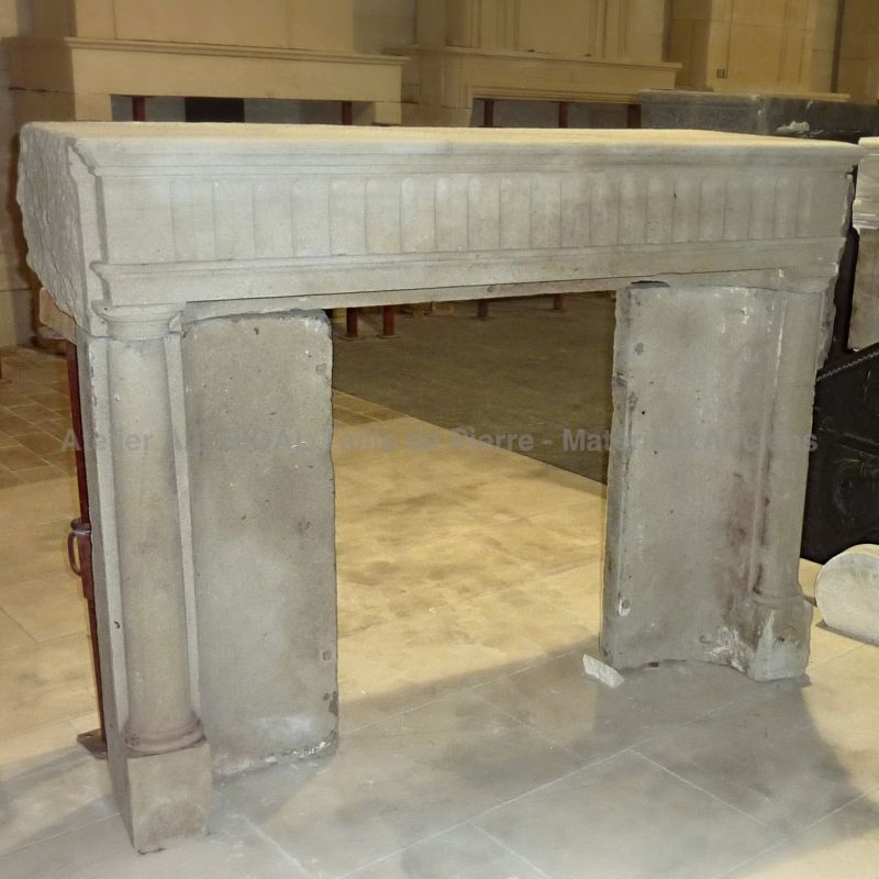 French 19th Century small fireplace in stone | French Empire-style mantle in stone for lovers of authenticity