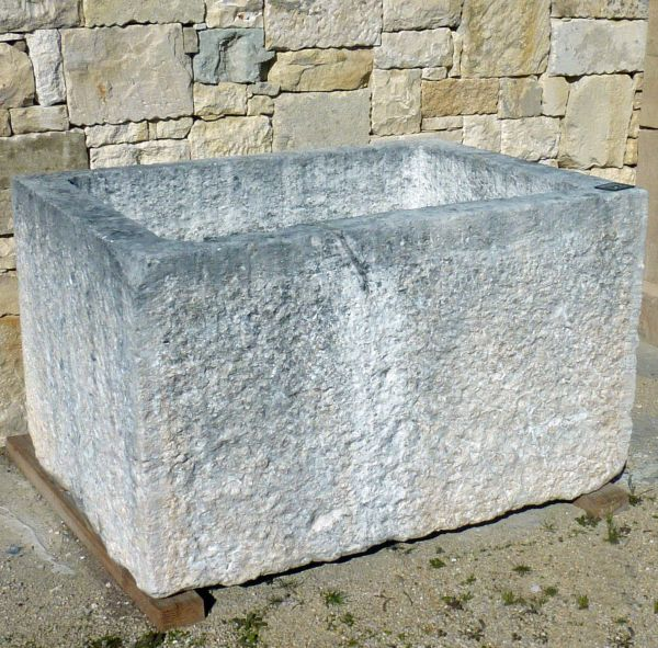 Large antique stone trough for outdoor landscaping (flower box or basin for fountain) full of charm!