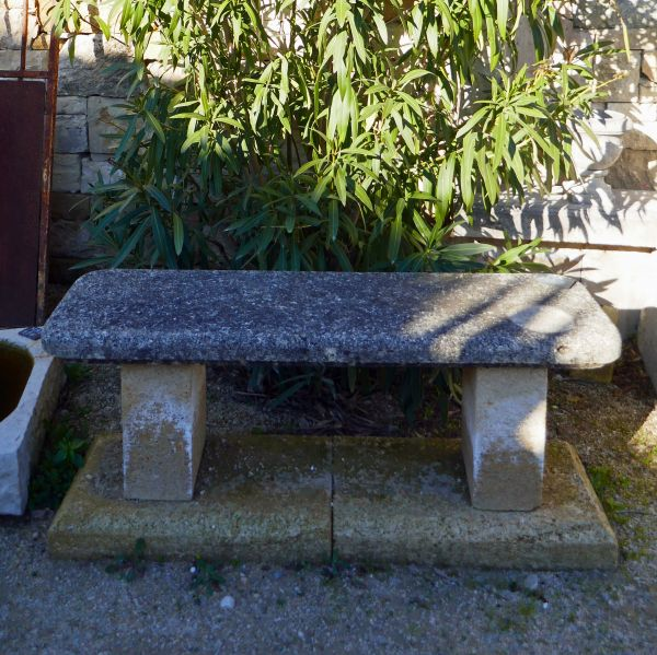 Small stone bench - old garden furniture.