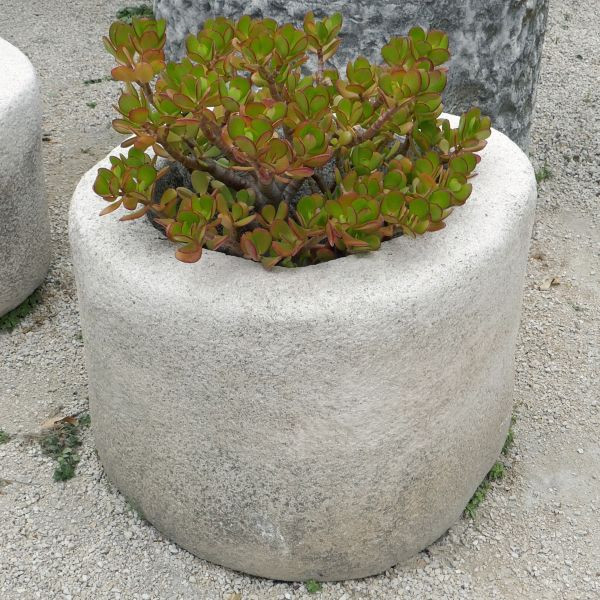 Round trough in stone : stone basin of a white-ish color ideal as a great flower pot or planter.