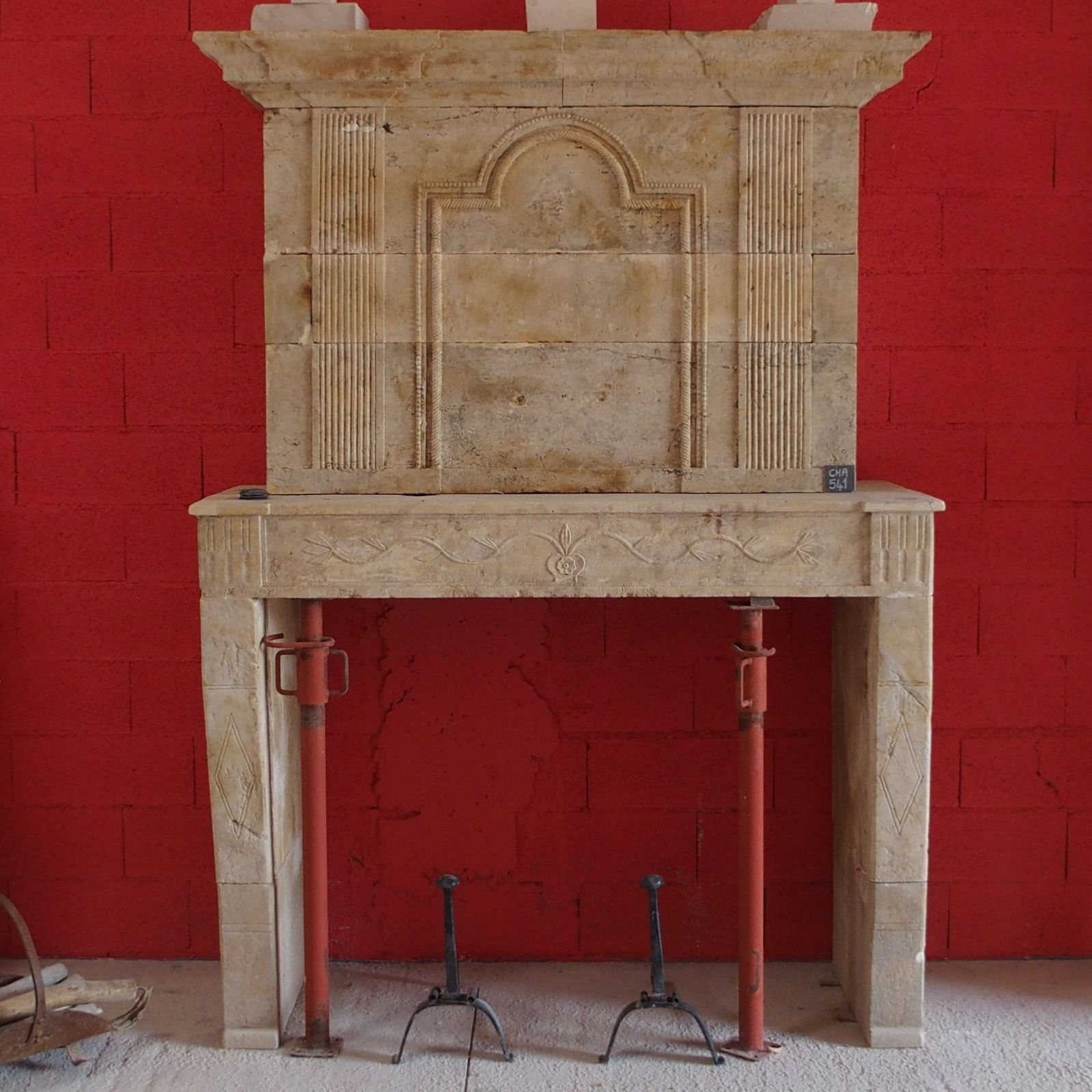 Very nice old stone fireplace - stone fireplace that has been restored.
