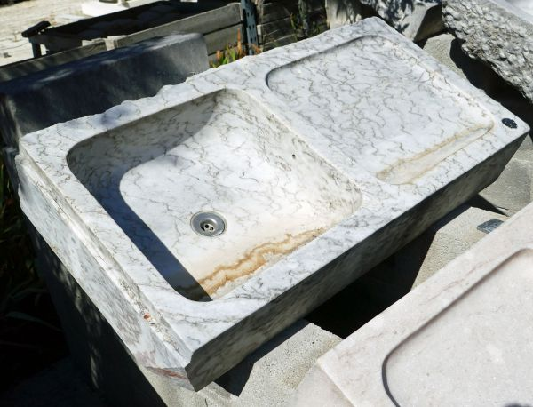 Beautiful old sink - square marble stone washbasin and drainer.