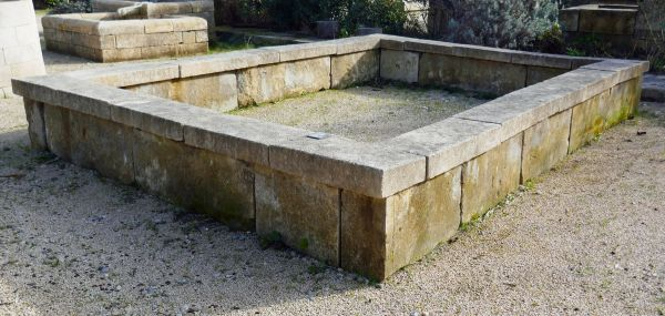 Rectangular basin in paired stones - ancient basin in stone.