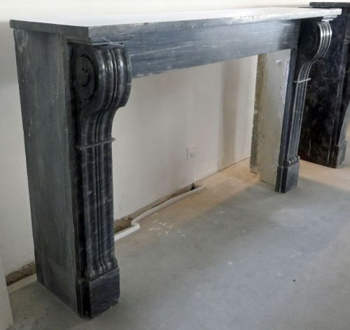Alain Bidal Antique Materials - Antique black marble fireplace