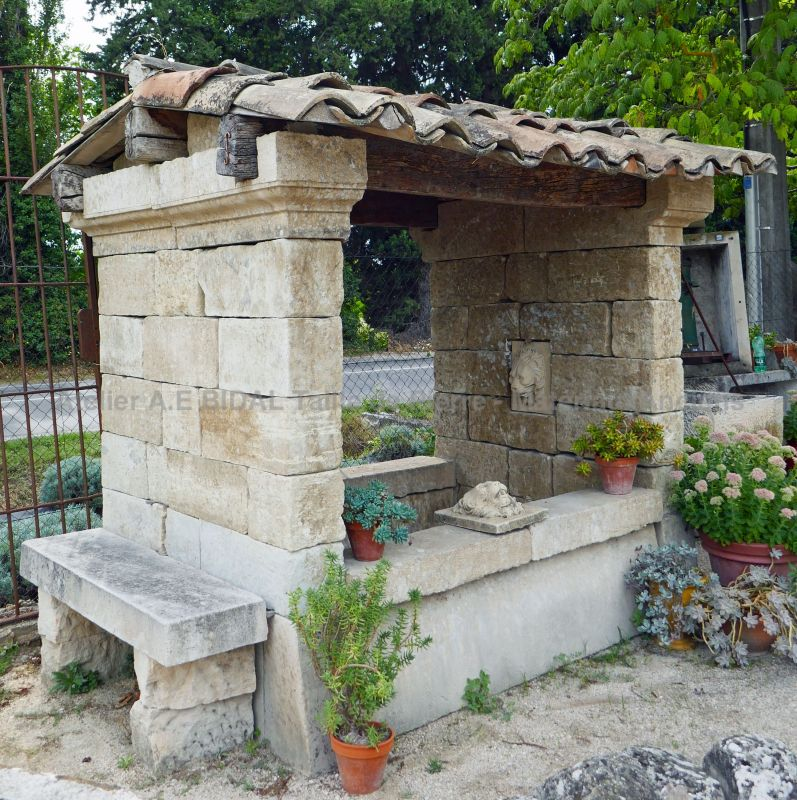 Beautiful large garden fountain | Stone fountain crafted on the model of an old wash house.
