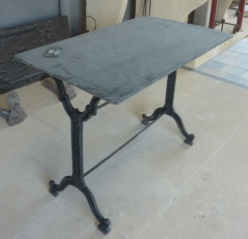 Old materials - beautiful old table for indoor outdoor use, made of slate and old cast iron.