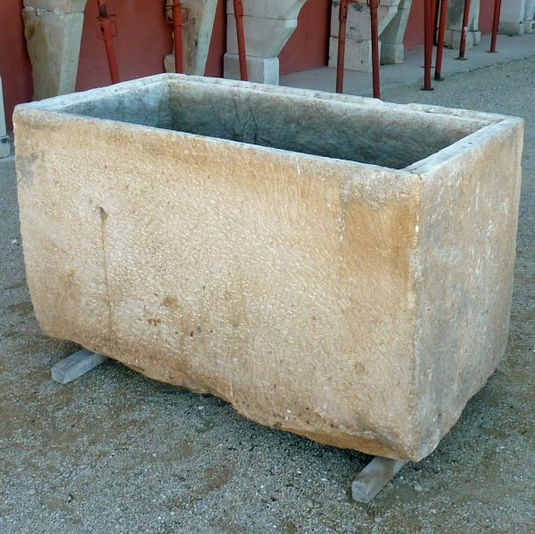 Large rectangular trough for a rustic and robust planter - antique stone trough.