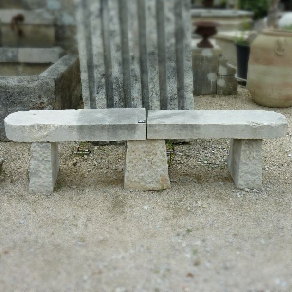 Antique stone bench of 2m10 in length - old garden furniture.