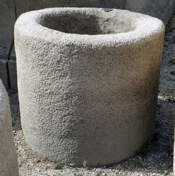 Circular trough - Round stone trough that can either become a small stone planter or a very decorative flowerpot.