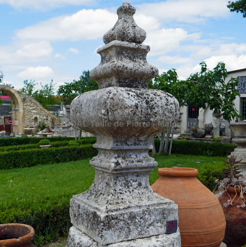 Reclaimed garden decoration in stone by Alain BIDAL Antique Materials in Provence - the pair.