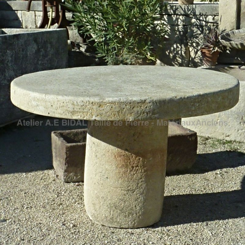 Round Table In Ancient Stone - Table For Garden With Rustic Charm.