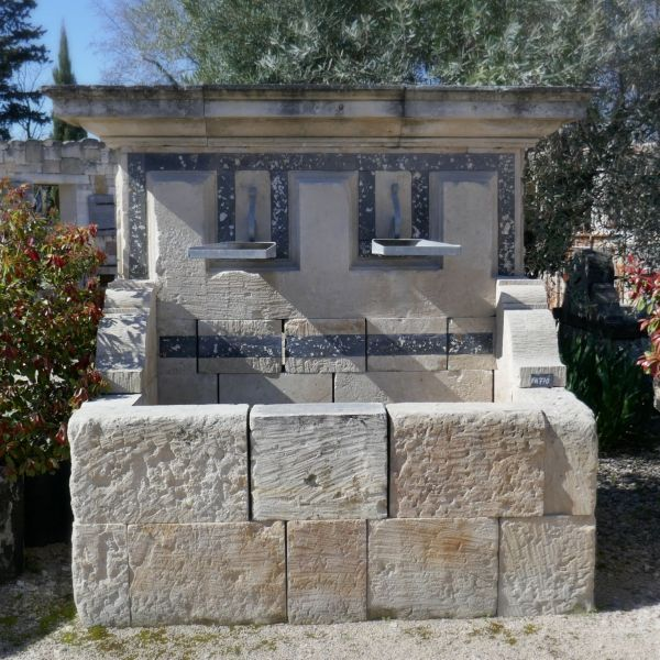 Large stone garden fountain | A beautiful outdoor wall fountain signed Alain BIDAL in Provence.