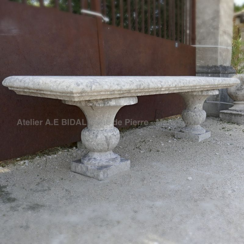 Stylish long garden bench | Natural stone bench for outdoor landscaping