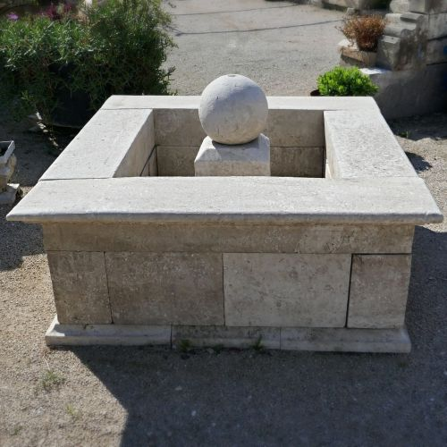 Natural stone basin for garden decoration | Creation signed Atelier Alain Bidal in Provence.