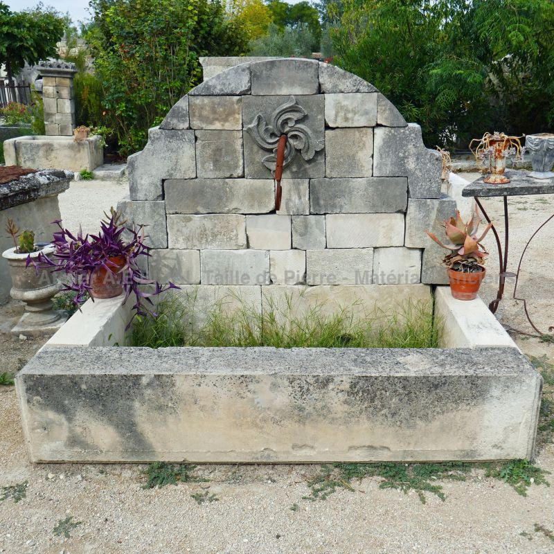 Large fountain - outdoor fountain with rectangular basin, Craft made basin.