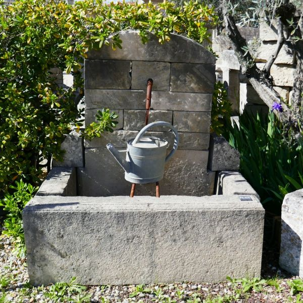 Small old stone fountain | Garden fountain with basin and pediment for outside.