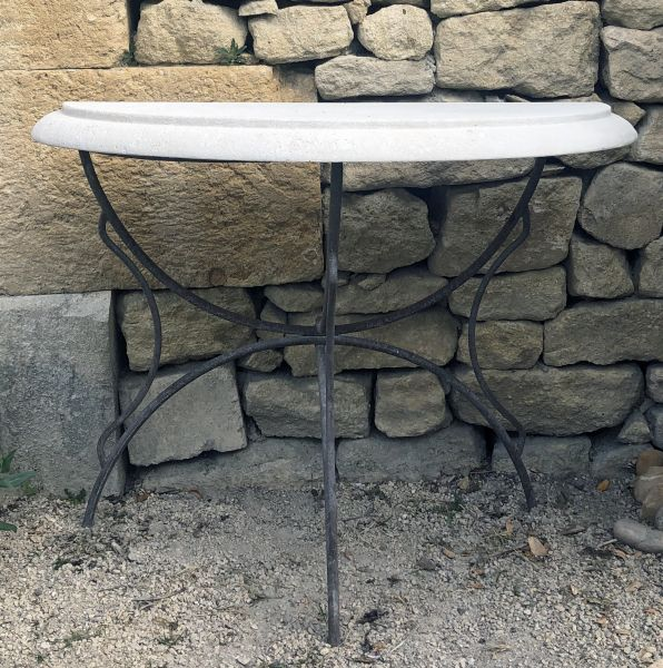 Small table in stone en iron by Alain BIDAL Antique Materials in Provence