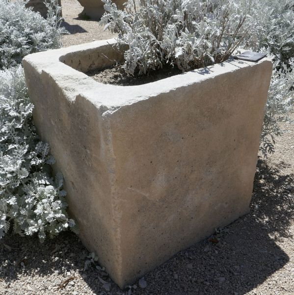 Small stone planter - an antique stone trough for sale at Alain Bidal Antique Materials in Provence.