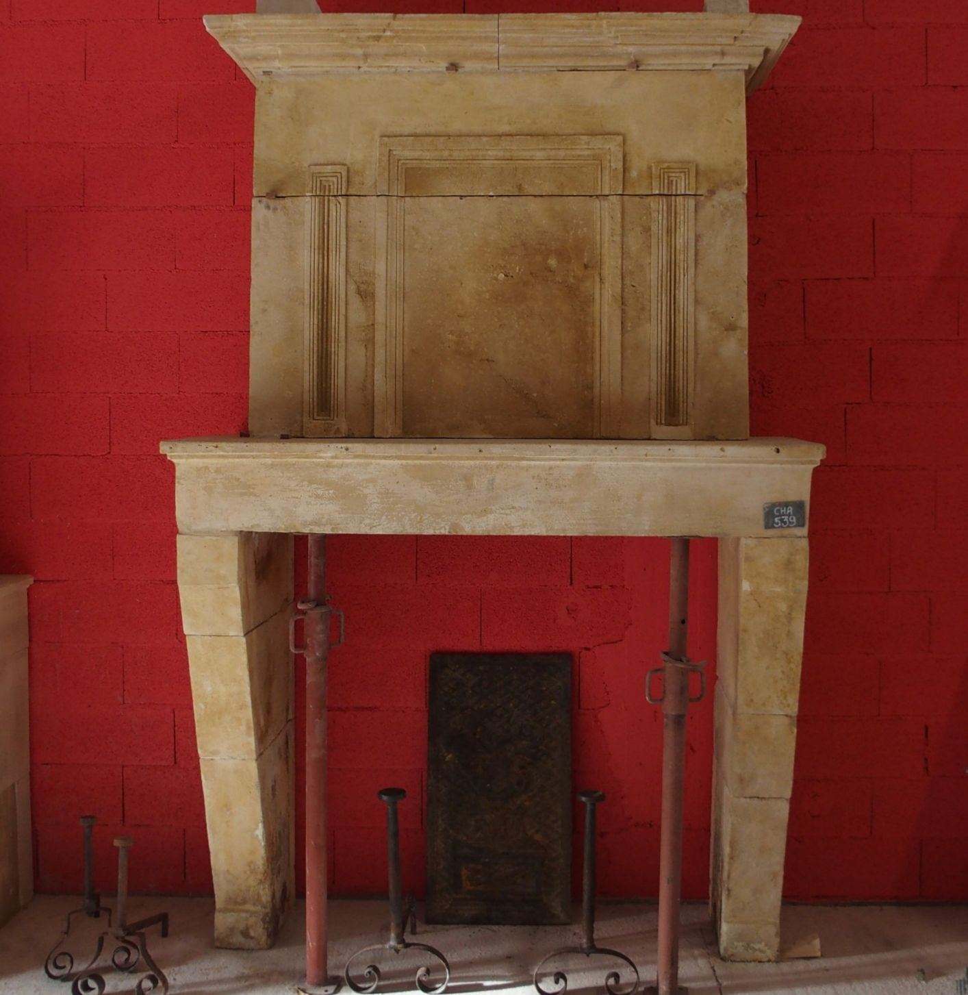 Beautiful old stone fireplace - fireplace with overmantle.