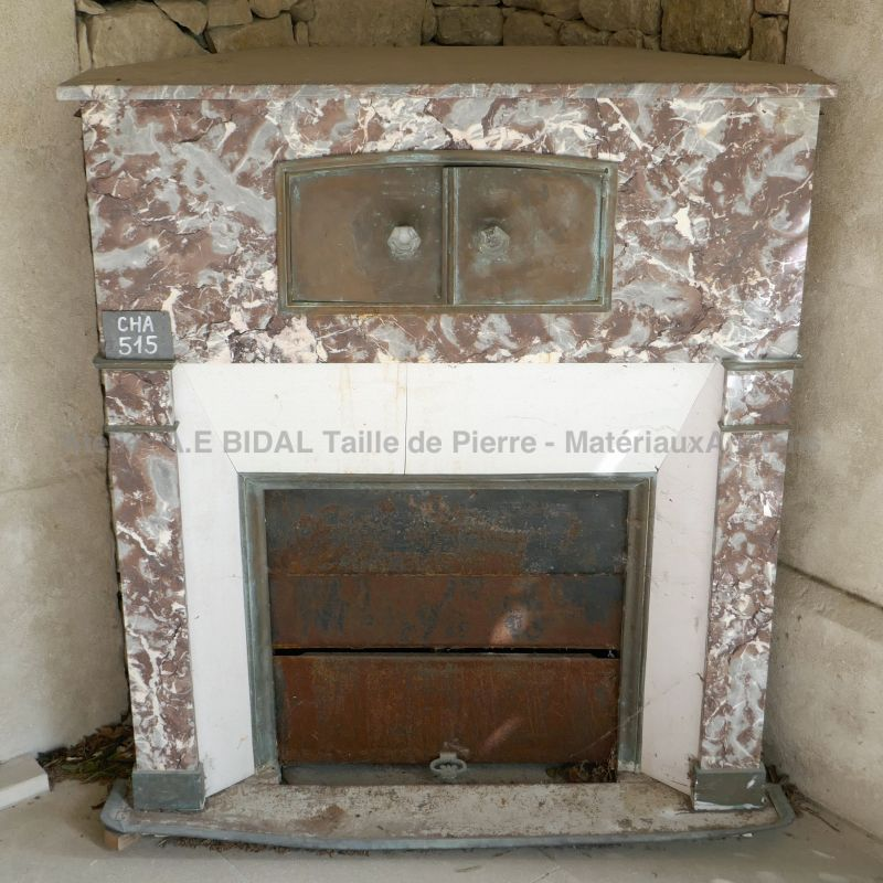 Antique white marble fireplace and red marble fireplace - an ancient marble fireplace combining these two colors.