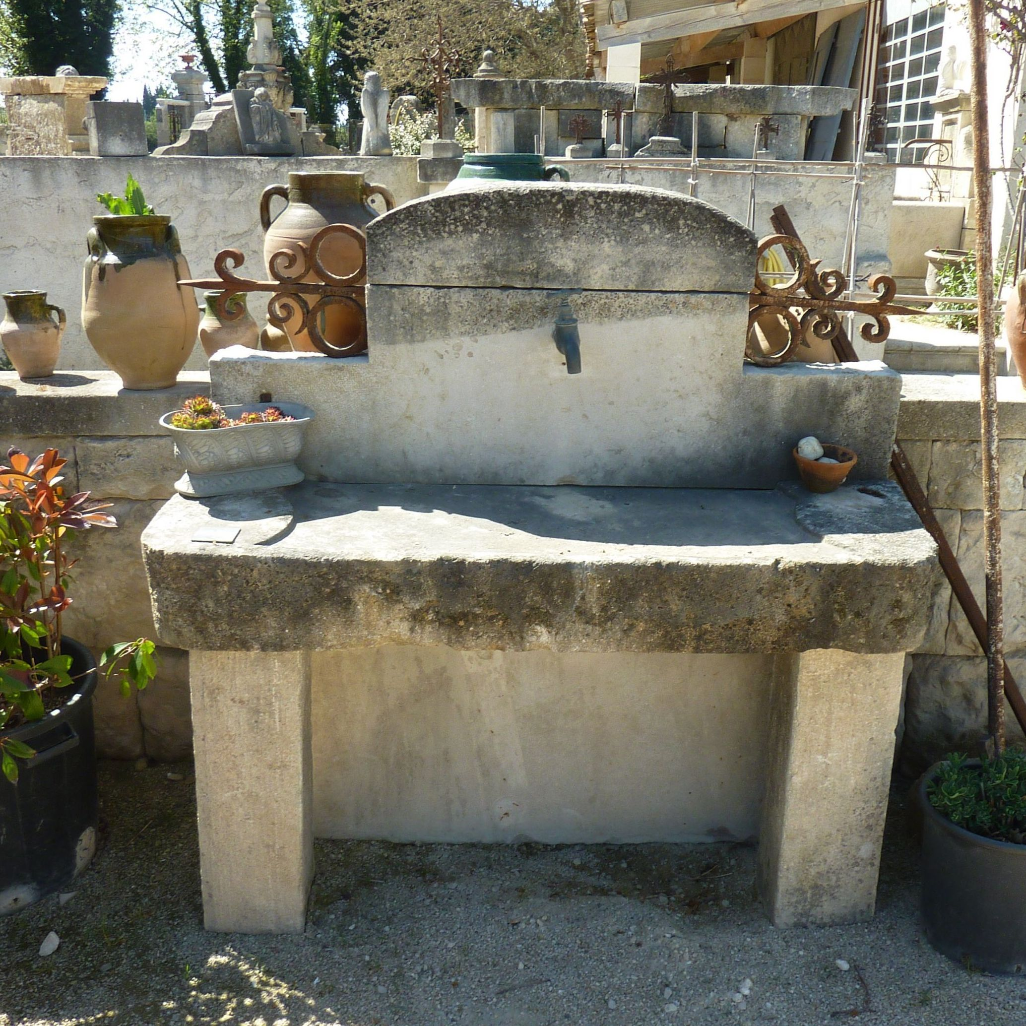Old sink for summer kitchen made of old materials - old Provence style sink.