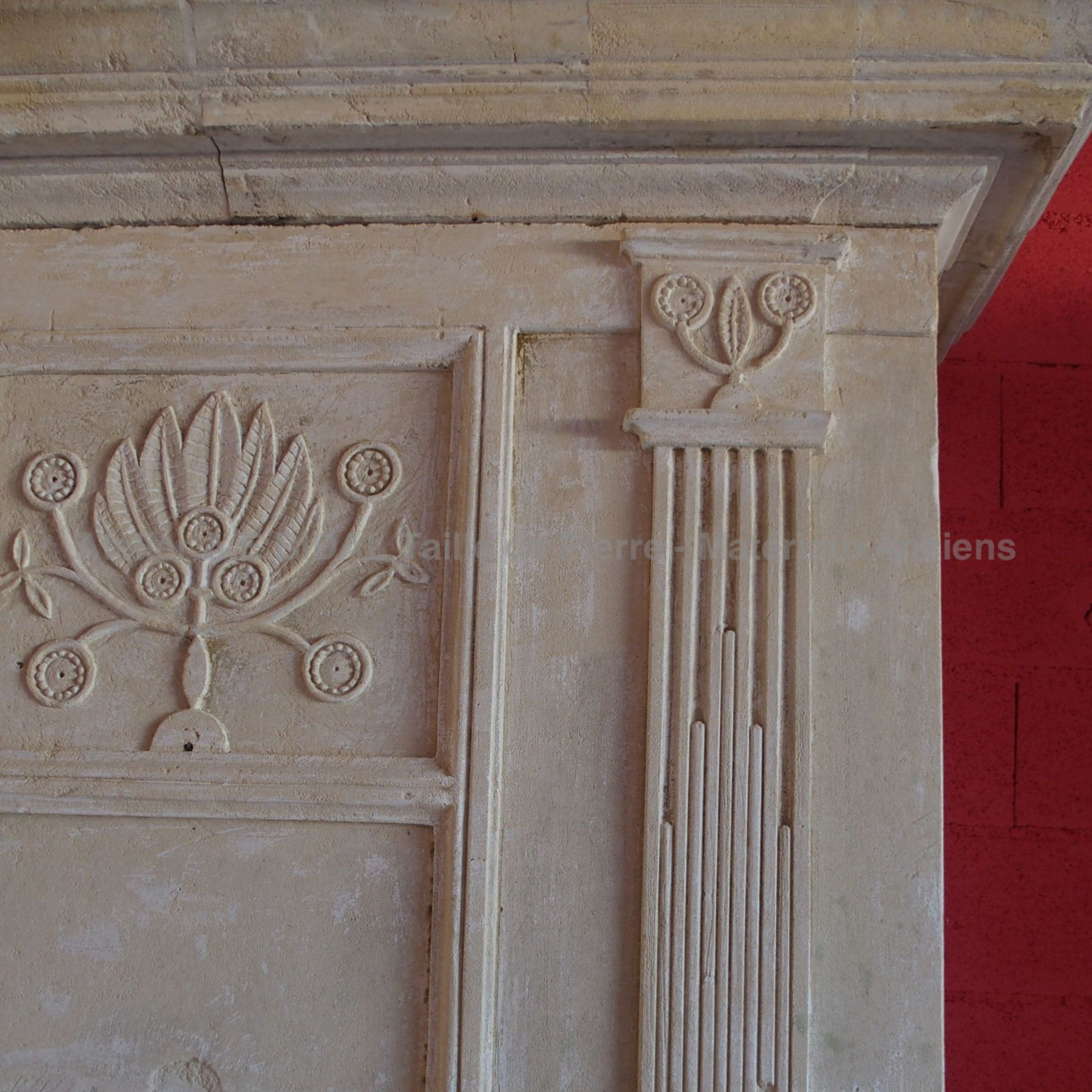 old stone fireplace - a fireplace with overmantle inherited from Louis XVI.