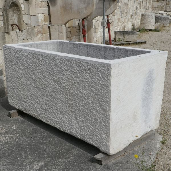 Large rectangular trough for rustic flowerpot - ancient stone trough.