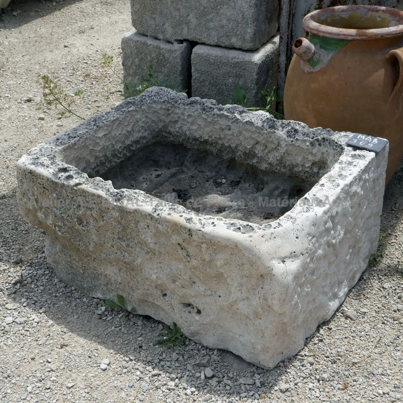 Small antique stone trough - Shallow stone trough ideal as a rusticly charming planter.