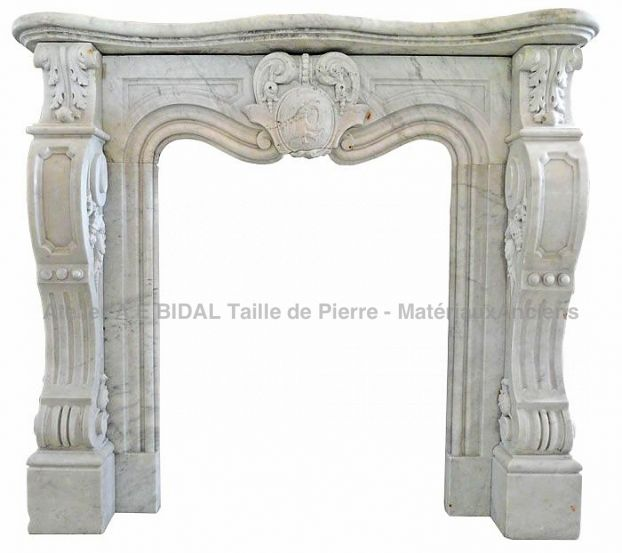 Very beautiful white marble fireplace - Rare antique mantle in marble on sale at Bidal's.
